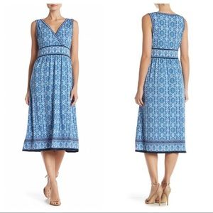NWT {Max Studio} surplice printed midi dress